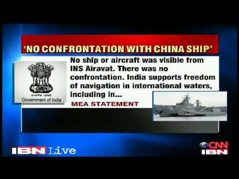 Chinese warship confronts Indian naval ship