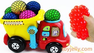 Learn Colors with Squishy Balls Dump Truck Toys Kinder Joy Surprise Eggs Nursery Rhymes Baby Songs