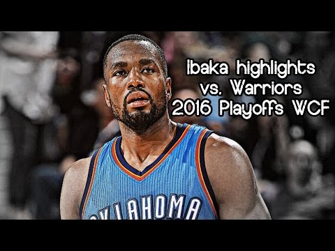 Serge Ibaka @ Warriors 11 pts, 11 reb & 1 blk on Thompson (NBA Playoffs 2016 WCF G1) - IBLOCKA!