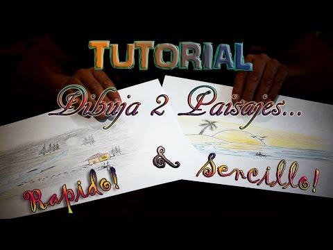Tutarial De Como Dibujar 2 Paisajes Super Faciles, Rapidos & Bonitos!!!