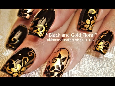 Black and Gold Flower Nails
