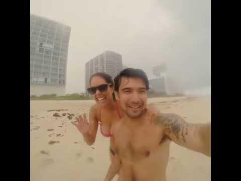 Karen Schwarz y Ezio Oliva fueron sorprendidos por una tormenta en Miami