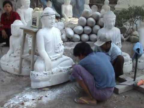 Marble Carving Of Buddha Images In Burma   Myanmar video