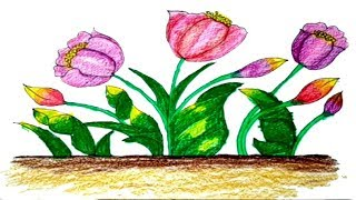 Tulip Flower coloring and drawing Painting & Learn Colors for kids