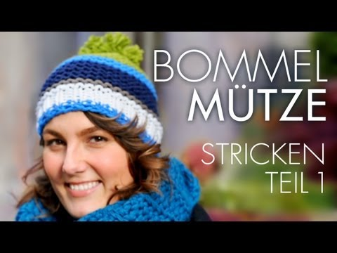 Watch Bunte Bommelmütze stricken TEIL 1