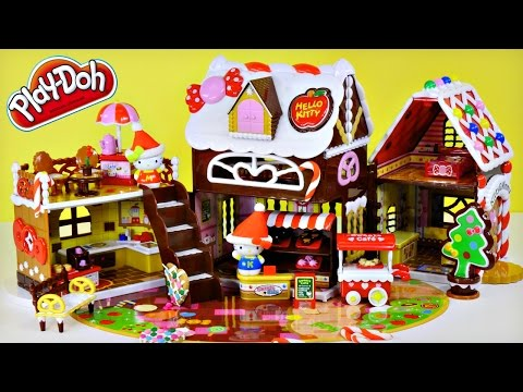 Hello Kitty & Mimmy Sweet Candy House Play Doh Cookies Treats Plastilina La Pasticceria Ciao Gattino video