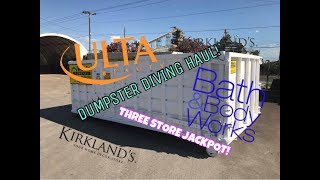 ULTA DUMPSTER DIVING LIVE DIVE AND HAUL! BRAND NEW PRODUCTS! + BATH AND BODY WORKS, KIRKLANDS!