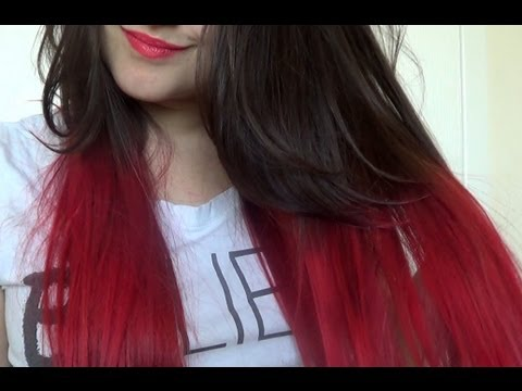 How To | Red Dip Dye Hair - YouTube Brown Hair With Red Tips Tumblr