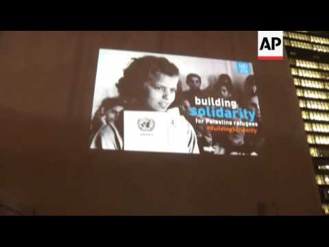 Image of Palestinian refugee projected onto UN building as part of campaign