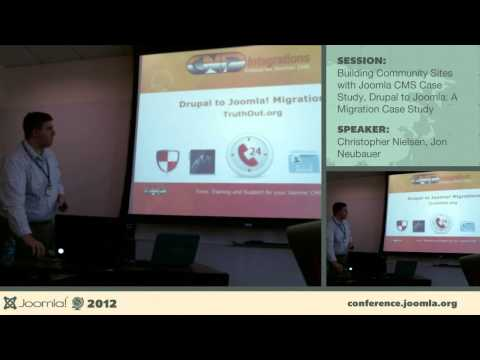Building Community Sites - Christopher Nielsen, Drupal to Joomla - Jon Neubauer :: I will discuss topics ranging from the questions beginners should ask when developing a community site with Joomla CMS to exploration of some advance features we built for the Puget Sound Partnership's mypugetsound.net community portal. This was a 3 year government support contract with the State of Washington which had many interesting process challenges and rich feature integrations.  ==============  As more and more organizations turn to Open Source technologies to power their online presence, one struggle that seems to recur is finding the balance between capability and usability in a CMS. With the Joomla! CMS situated as a powerful and robust platform for building an online presence, yet still maintaining a great level of usability and efficiency in day to day operations, many organizations are exploring their options when it comes to migrating to Joomla! to make life easier.  During this session we'll take a look at our experience in moving several applications from Drupal to Joomla!, and a process that we've built, and documented for automating the transition for any organization.
