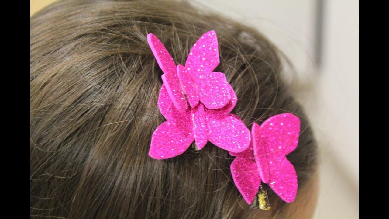 C mo hacer mariposas para el pelo youtube - Como hacer mariposas de goma eva ...