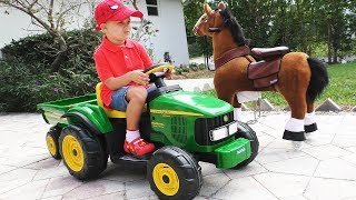 Roma Pretend Play with tractor and horse