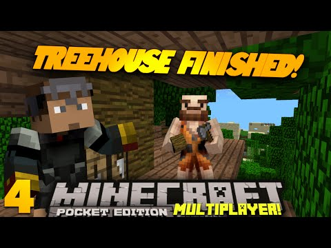 Minecraft PE Multiplayer 0.9.0 EP 4 TREEHOUSE DONE Pt 1 PE SMP Minecraft Pocket Edition Series
