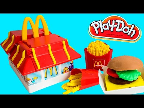 Play Doh McDonald's Restaurant Playset Mold Burgers Fries McNuggets Toy Videos