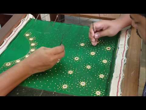 Green Top Design with Mirrors and sugar beads