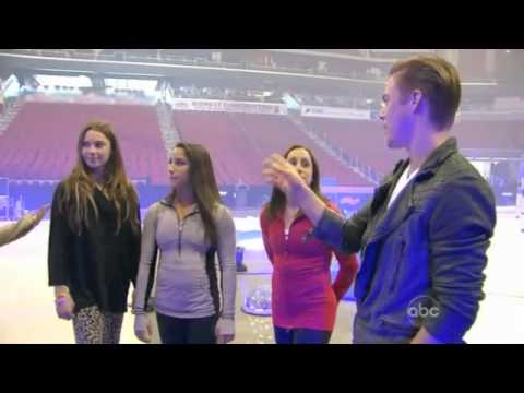 Sassy McKayla Maroney helps Shawn Johnson with her Mambo..