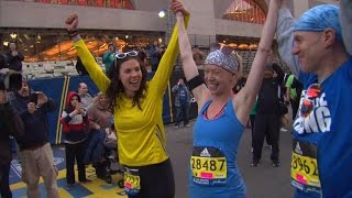 Adrianne Haslet Crosses Boston Marathon Finish Line