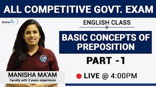 4:00 P.M. Prepositions Part-1   English Class By Manisha Ma'am