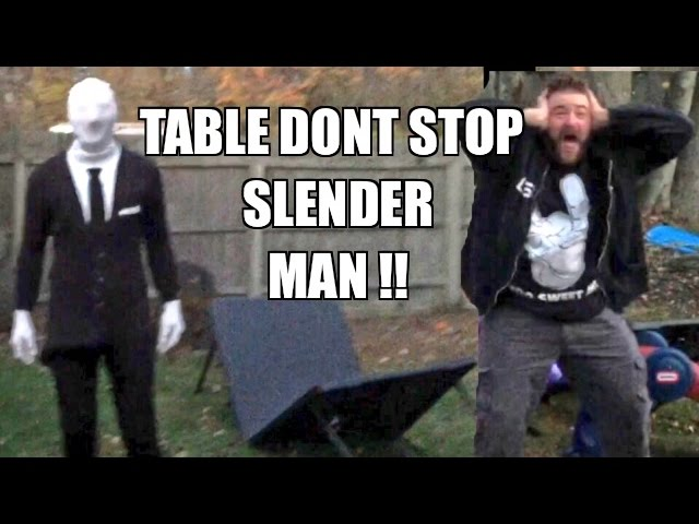 SLENDER MAN PUT THROUGH A TABLE! Backyard Wrestling WWE Figures Fight!
