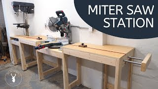 Miter saw station | with extension wing & integrated drill press