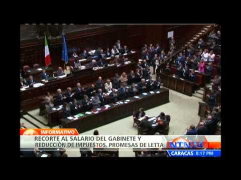 Primer ministro Enrico Letta anuncia medidas para superar crisis económica en Italia