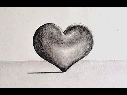 C mo dibujar un coraz n en 3d hacer corazones a lapiz youtube - Como hacer blanco roto ...