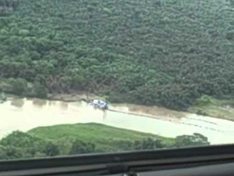 Overhead view of Nicaraguan dredging damage to Costa Rican property