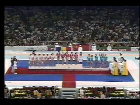 1988 Seoul Victory ceremony of women's gymnastic teams