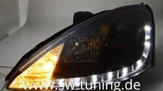 SW-DRL Scheinwerfer Ford Focus Mk1 Facelift black LED TFL SW-Tuning