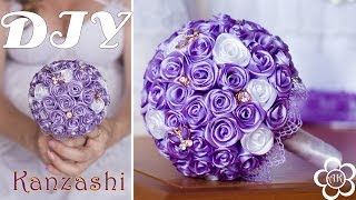 Wedding Bouquet  of ribbon / Roses from ribbons Video Tutorial ✄ Anastasia Kulikova