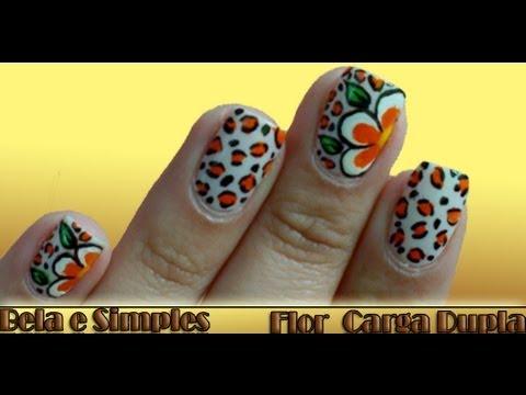 Unhas Decoradas com Flor Carga Dupla Manual Bela e Simples Nail Art