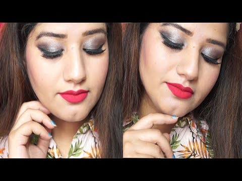 Smokey Eye Makeup Tutorial step by step for red and pink dress/saree