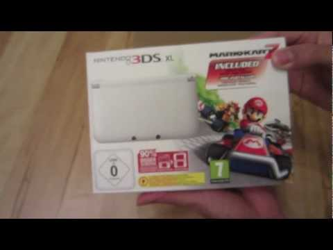 Nintendo 3DS XL White Bundle Mario Kart 7 Unboxing video / review