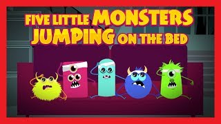 Five Little Monsters Jumping On The Bed - Nursery Rhymes By Kids Hut || Halloween 2017