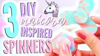 3 EASY DIY UNICORN FIDGET SPINNERS WITHOUT BEARINGS! (Polymer Clay)