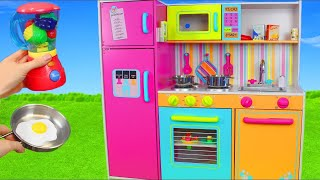 Kitchen Toys, Mixer, Velcro Cutting Fruits, Refrigerator, Slime & Play Doh Pretend Cooking Unboxing