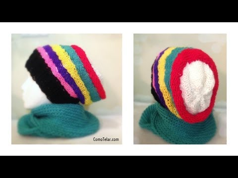 Gorro Tejido Boina Tipo Caido / Slouchy / Rasta en Telar Redondo - Loom Knit Slouchy Hat in Spanish