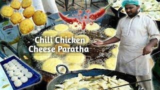 Chili Chicken Cheese Paratha | Quick Breakfast | Spicy Paratha | Street food of Karachi Pakistan
