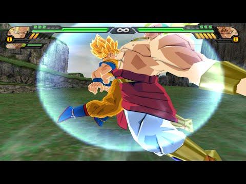 Goku SSJ and Broly Fusion   Brokku vs Majin Vegeta  DBZ Budokai Tenkaichi 3 (MOD)