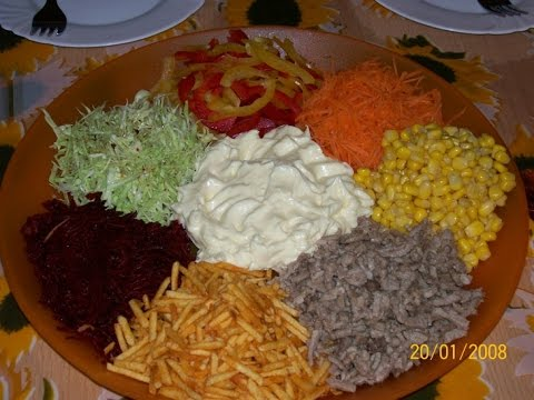 Салат ромашка рецепт с мясом пошагово