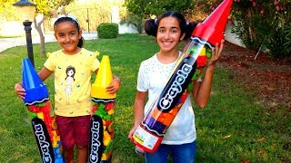Esma and Asya Pretend play with Giant Crayon for kids video