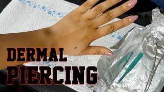 Dermal Piercing. Funny Reaction to Hand Micro Dermal Piercing