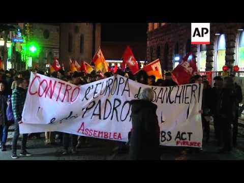 German chancellor meets Italian PM Renzi; anti austerity protest