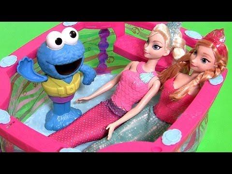 Cookie Monster Pool Party With Mermaid Elsa Mermaid Anna