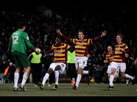 Bradford stun Arsenal with penalty shoot out win.