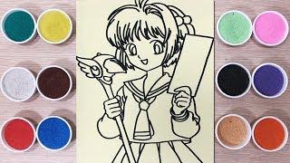 Tô màu tranh cát Sakura thủ lĩnh thẻ bài 2018 - Coloring princess & sand painting toys (Chim xinh)