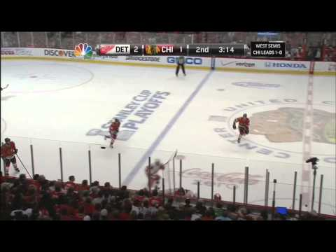 Brendan Smith snapshot goal 2-1 May 18 2013 Detroit Red Wings vs Chicago Blackhawks NHL Hockey