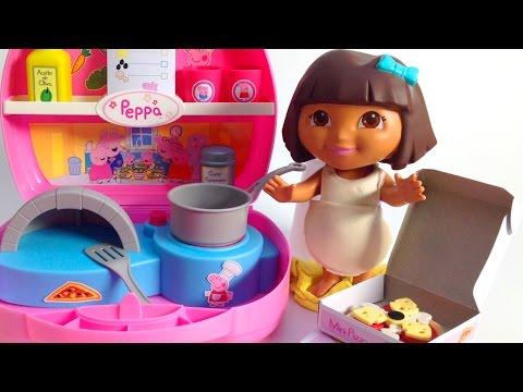 Peppa Pig Mini Pizzeria With Dora The Explorer Chef Dora La Exploradora Nickelodeon Toys Review video