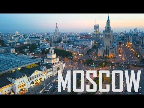 Beautiful Moscow city Aerial flight / Komsomolskaya square