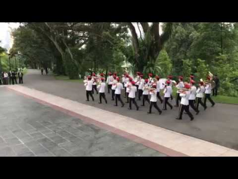 SAF military band and guard of honour preparing to receive Philippine President Rodrigo Duterte